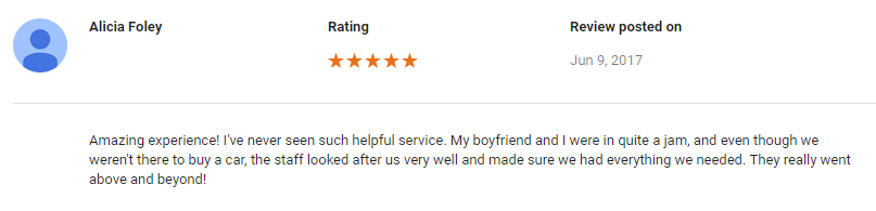 06.09.2017 Alicia Foley Google Review