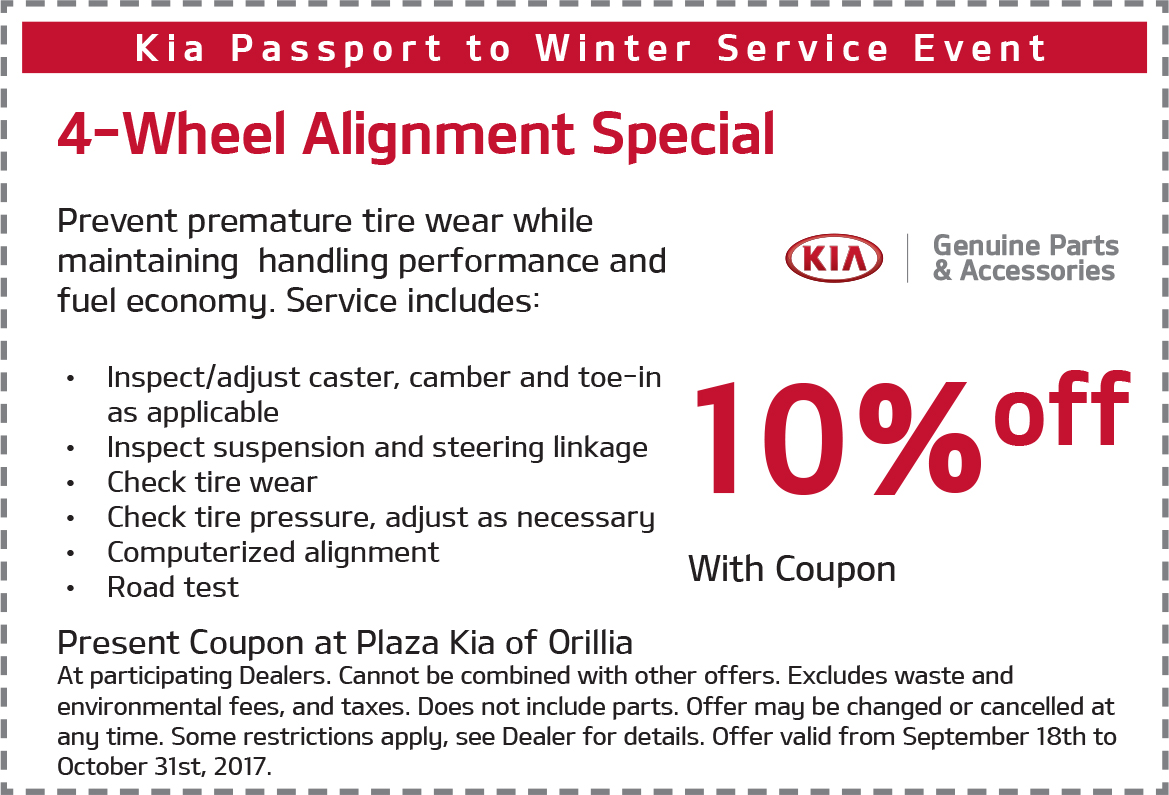 10% Off Kia 4-Wheel Alignment