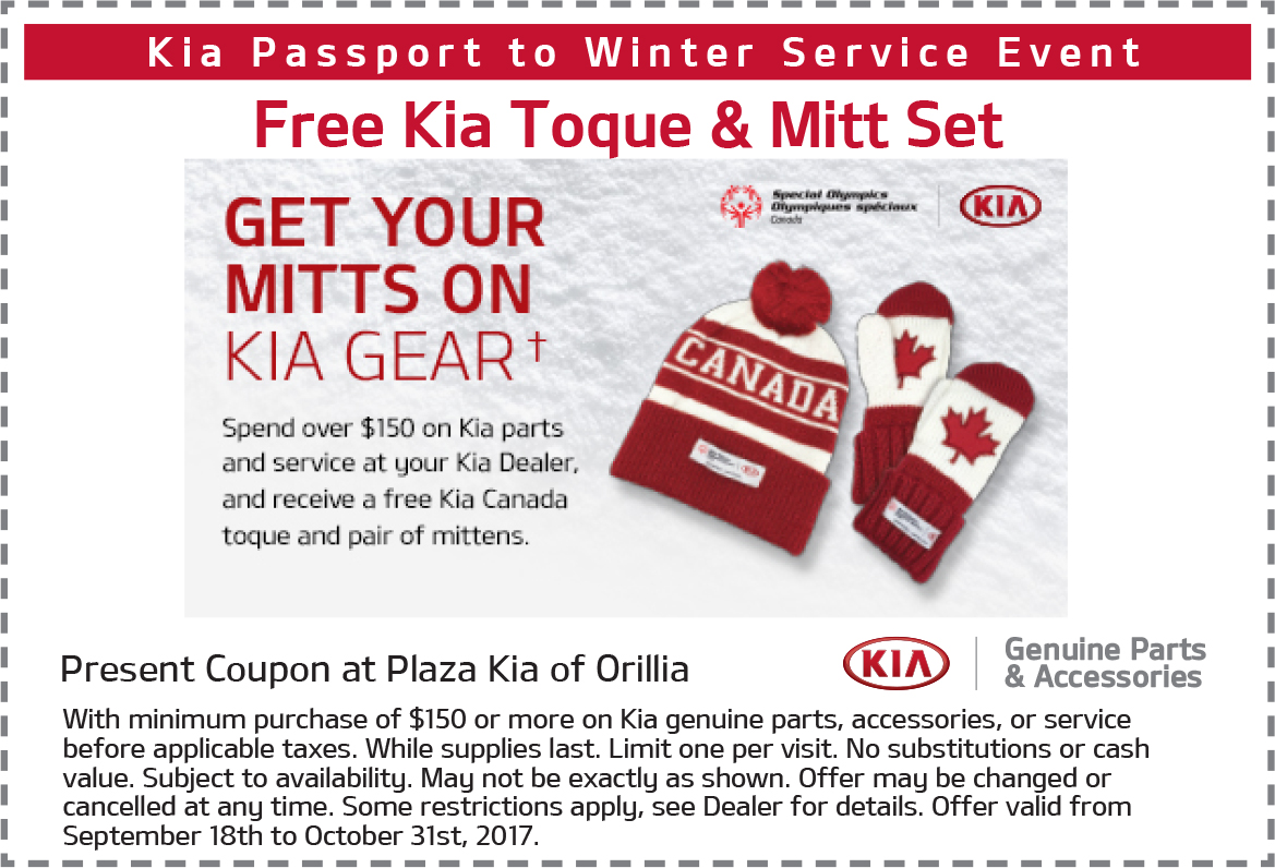 Free Kia Toque & Mitt Set With Kia Service Over $150