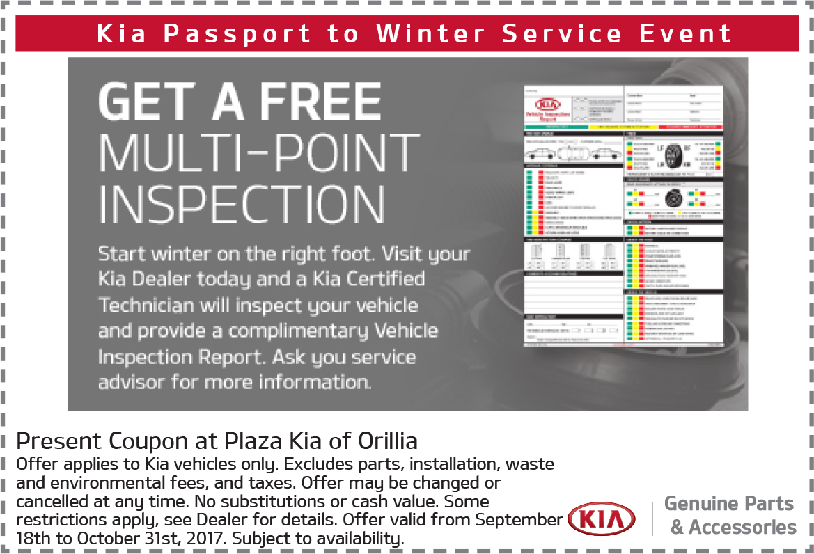 Free Multi-Point Inspection For Your Kia Vehicle
