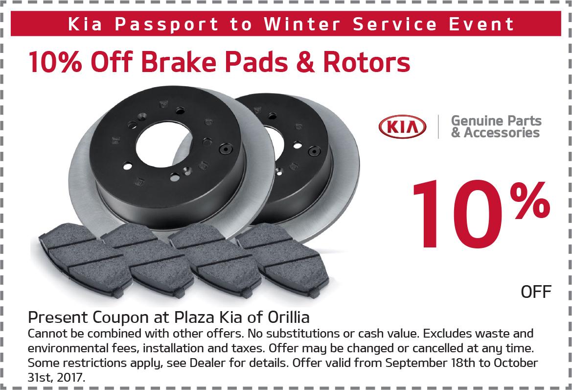 10% Off Kia Brake Pads & Rotors