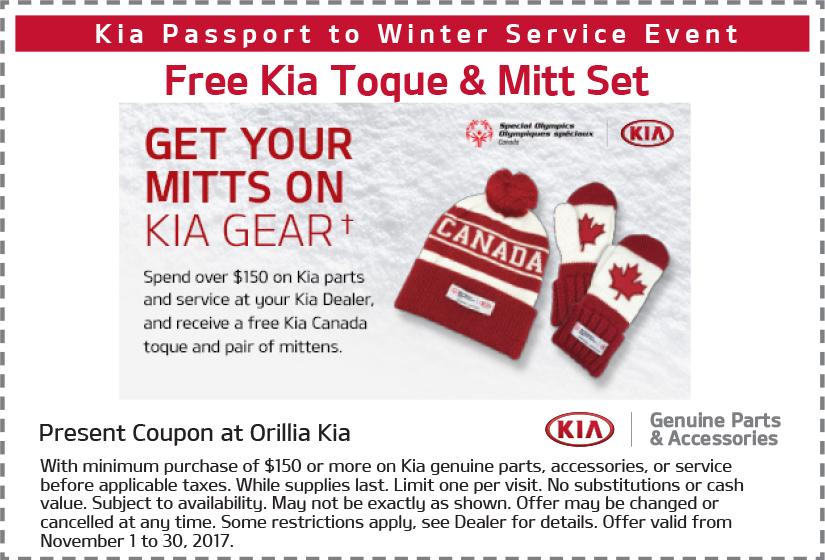 Free Kia Toque & Mitt Set