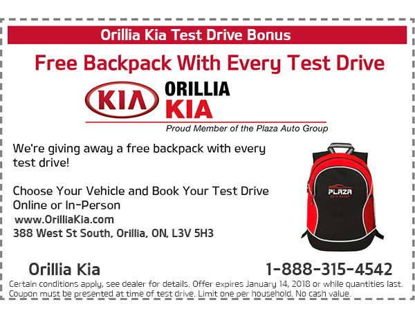 Test Drive Backpack Offer