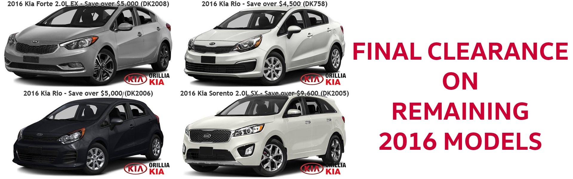 Final Clearance on Remaining New 2016 Kia Models