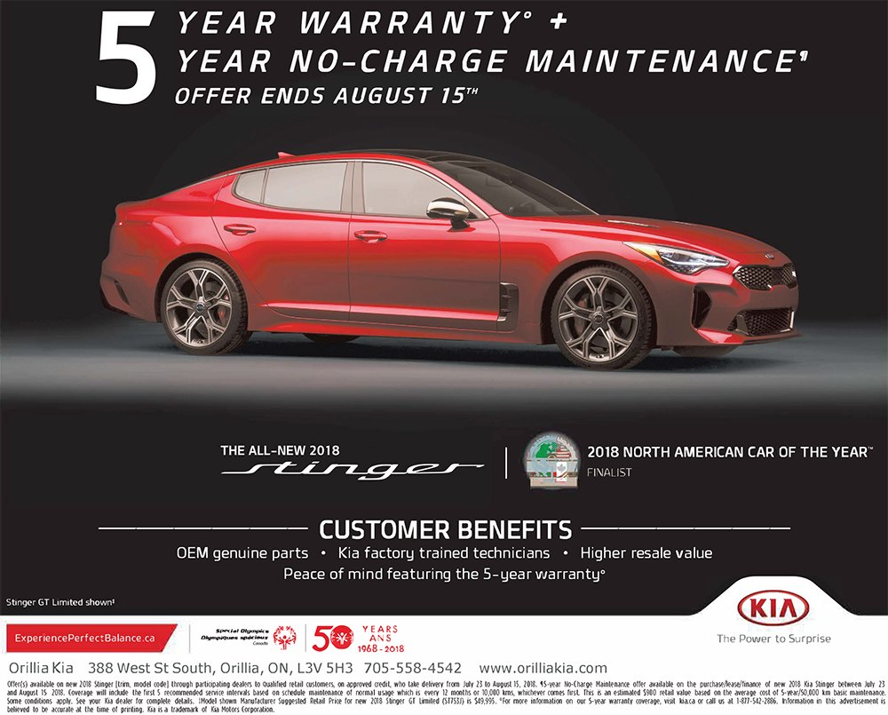 2018 Kia Stinger 5-year No-Charge Maintenance Offer