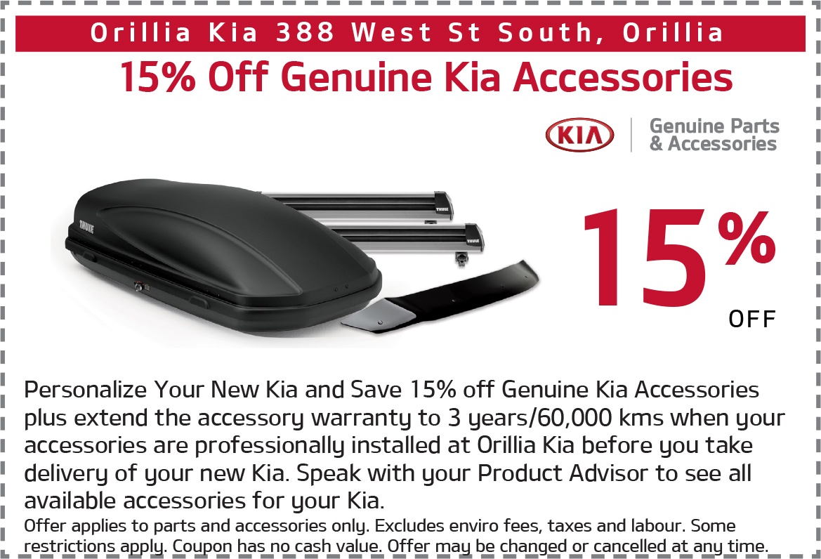 15% Off Genuine Kia Accessories